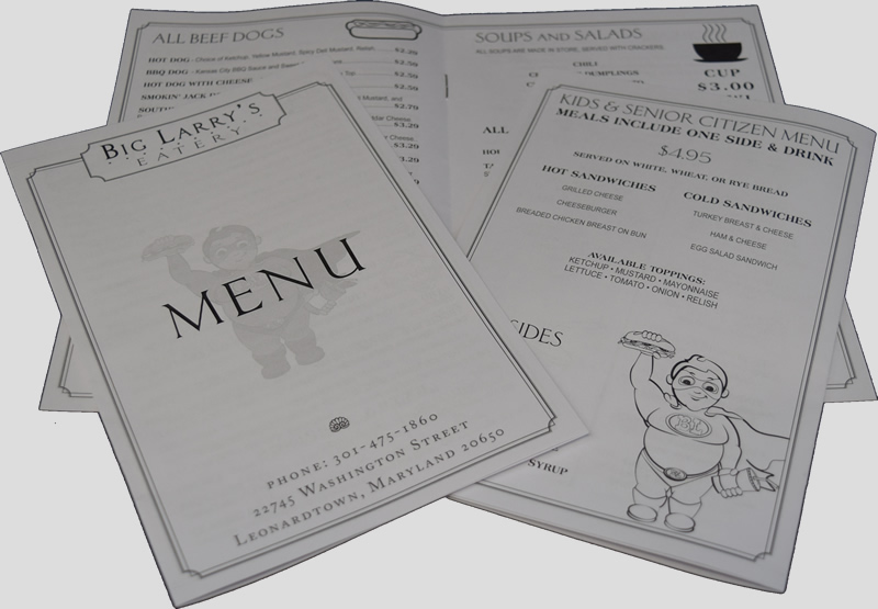 Take-Out Menu Printing