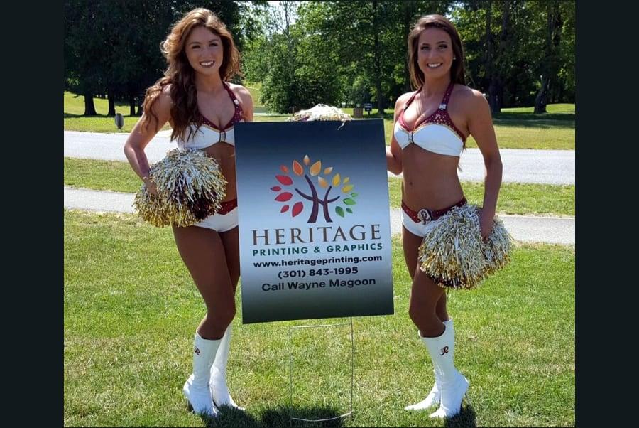 Redskin Cheerleaders with Heritage Printing Outdoor Sign
